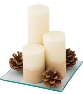 Set de três velas em bandeia de vidro