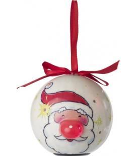 Bola de adorno de Natal, com laço vermelho e 6 luze
