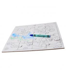 Puzzle em cartão com lápis de cera para colorir