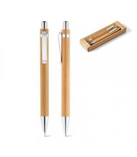 GREENY. Conjunto de esferográfica e lapiseira em bambu